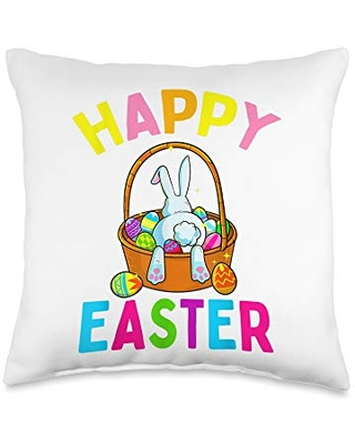 Hunt Throw Pillow 16x16 - happy easter day bunny hunting chocolated eggs