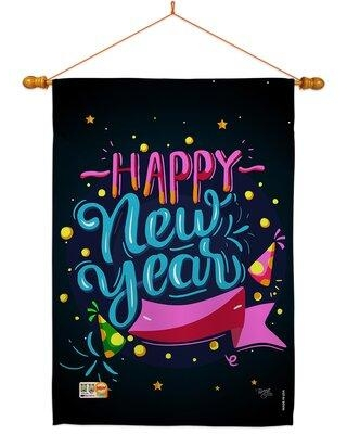 Breeze Decor Popping Happy New Year 2-Sided Polyester 40 x 28 in. Flag set in Black, Size 40.0 H x 28.0 W x 1.0 D in   Wayfair
