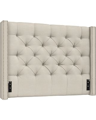 Harper Upholstered Tufted Low Headboard with Bronze Nailheads Queen Textured Basketweave Flax - undefined
