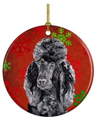 Standard Poodle Snowflakes Holiday Ceramic Hanging Figurine Ornament - the holiday aisle
