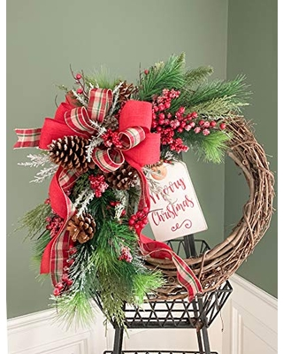 Pines and Berry Rustic Christmas Wreath Farmhouse Holiday Wreath Winter Wreath for Door - mommykimstyle