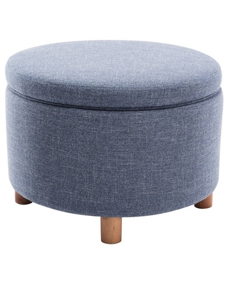 Large Round Storage Ottoman with Lift Off Lid - wovenbyrd
