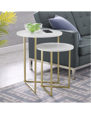 2 Piece Round Nesting End Tables Faux Marble - manor park