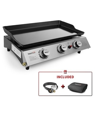 PD1300 3 Burner 26 400 BTU Portable Gas Grill Griddle Outdoor Camping Tailgating - royal gourmet