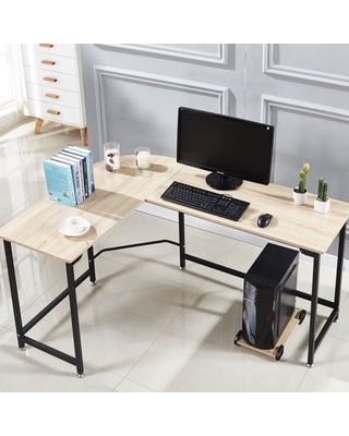 Shape Corner Computer Desk PC Wood Steel Laptop Table Workstation Home Office - cheerwing