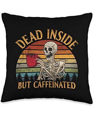 Dead Inside But Caffeinated Coffee Lover Vintage Throw Pillow 16x16 - coffee underground