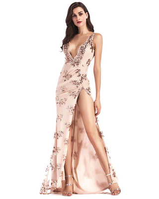 Evening Dress Sleeveless Backless Polyester Sequins Split Gowns Long Party Dress Bodycon Pageant Dress - milanoo
