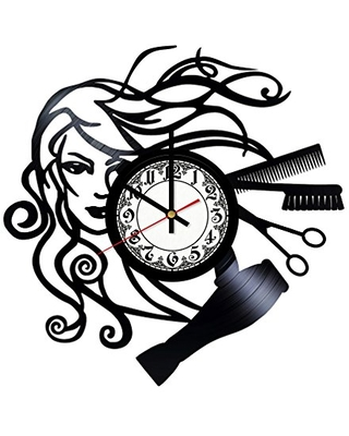 Hairdresser Design Handmade Vinyl Record Wall Clock Get unique room wall decor Gift ideas for his and her - Modern Unique Home Art Design - girls art boutique