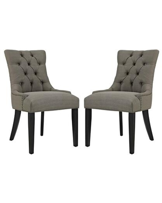 Regent Collection EEI 2743 GRA SET Dining Chairs with Rubberwood Tapered Legs Nailhead Trim Non Marking Foot Caps Solid Wood Frame - modway