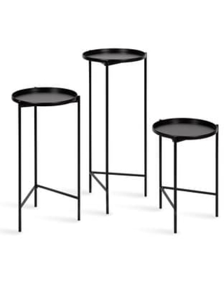 Ulani Round Metal Accent Table Set - kate and laurel