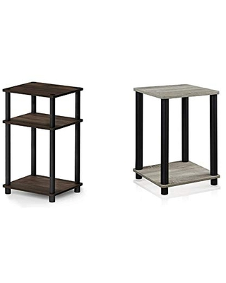 Particle Contemporary Just 3 Tier End Table Columbia Walnut & Turn N Tube Hayd End Table Oak French Oak - furinno