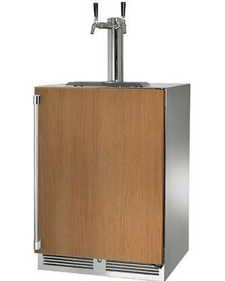HP24TO 4 2R 2 Signature Series Outdoor Beer Dispenser with 2 cu ft Capacity LED Task Lighting Dual Tap and Right Hinge Solid Door in Panel - perlick