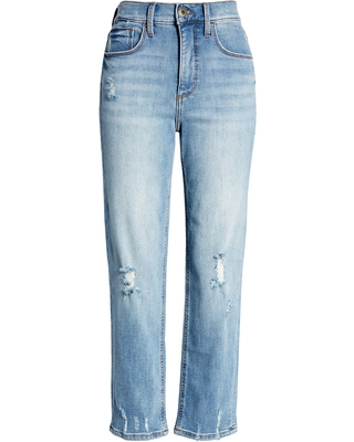 Women's Pierce Ripped High Waist Crop Straight Leg Jeans at Nordstrom - whetherly