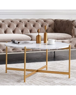Faux Marble Modern Round Accent Side Coffee Table With Metal Frame For Living Room Dining Room Tea Home Decor - unbrand