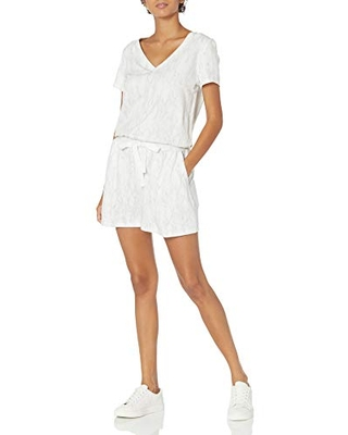 Amazon Brand Women's Supersoft Terry Short Sleeve V Neck Romper - daily ritual