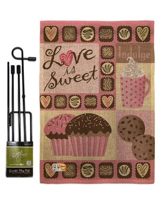 Love Is Sweet Burlap Spring Valentines Impressions 2 Sided Polyester 5 x 13 in Garden Flag Set - breeze decor