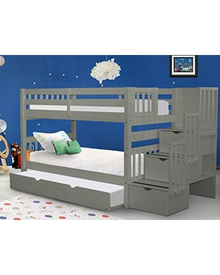 Stairway Bunk Beds Twin over Twin with 3 Drawers in the Steps and a Twin Trundle - bedz king