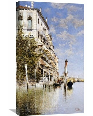 Along the Grand Canal' by Rafael Senet Painting Print on Wrapped Canvas - global gallery