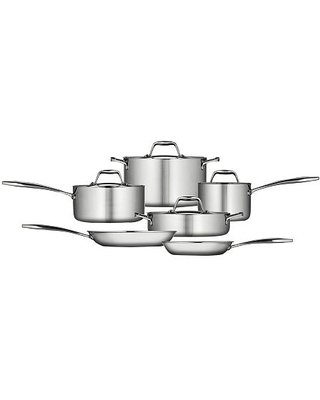 Gourmet 10 pc Tri Ply Clad 18 10 Stainless Steel Induction Ready Cookware Set - tramontina