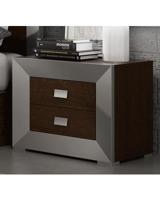 203NS Nightstand with Wenge Silver Simple Pulls and Wood - esf