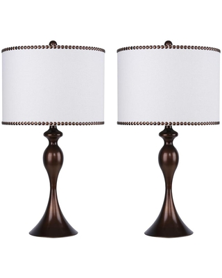 27 in Curvy Dark Bronze Table Lamps with Off Linen Drum Shades 2 Pack - grandview gallery