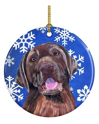 Labrador Winter Snowflakes Holiday Ceramic Hanging Figurine Ornament - the holiday aisle