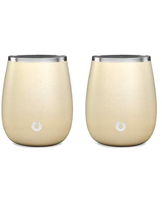 SNOWFOX Elegance Collection Insulated Stainless Steel White Wine Glasses, Chardonnay, Set of 2, Light Gold