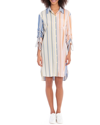 Long Sleeve Stripe Shirtdress in Ivory Coral at Nordstrom - maggy london