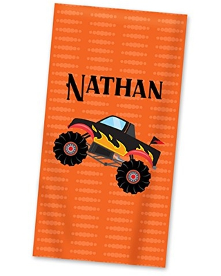 Monster Truck Beach Towel Monster Truck Pool Personalized Name Light Weight Towel - purpleberryink