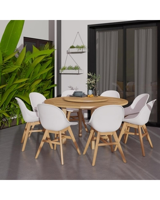 Bedford Lazy Susan 9 Piece Wood Outdoor Dining Set - amazonia