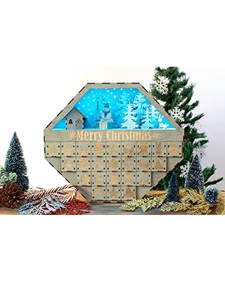 Advent Calendar Christmas Wooden Personalized Christmas Calendar Rhombus Shape 24 Engraved Drawers Countdown 2021 LED Light - favncrafts