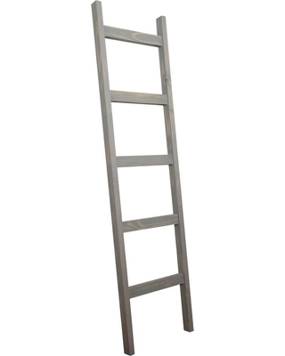 72 in Weathered Wood 5 shelf Ladder Bookcase with Open Back - brandtworks