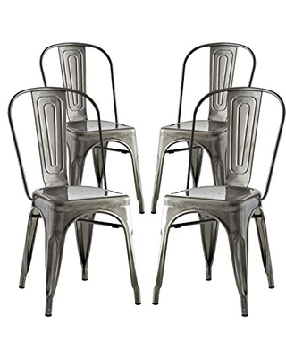 Promenade Industrial Modern Steel Four Kitchen and Dining Room Chairs Side - modway