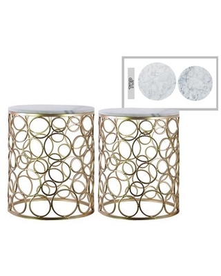 BM182004 Round Metal Nesting Accent Table With Marble Top Champagne - benzara
