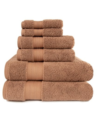 Turkish Cotton Solid 6 Piece Highly Absorbent Plush Towel Set Taupe by - superior