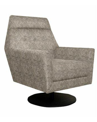"""Edgecombe Furniture Edna 31"""" Wide Tufted Swivel Armchair Polyester/Polyester blend/Fabric in Brown, Size 42.0 H x 31.0 W x 35.0 D in 