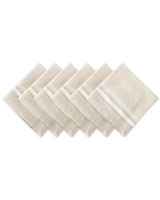 100% Cotton Everyday French Stripe Tabletop Collection Napkin Set 6 Count - dii