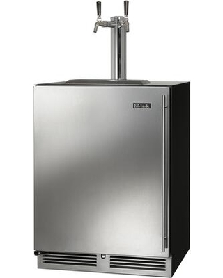 HC24TB 4 1L 2 C Series Indoor Beer Dispenser with 2 cu ft Capacity RAPIDcool Forced air System Stainless Steel Faucet Dual Tap and Left - perlick