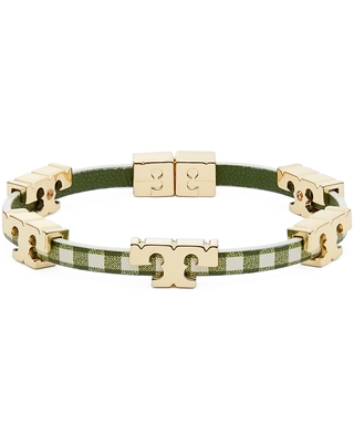 Logo Stackable Bracelet in Tory Gingham at Nordstrom - tory burch