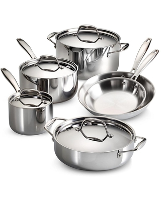 Gourmet Tri Ply Clad 10 Piece Stainless Steel Cookware Set Silver - tramontina