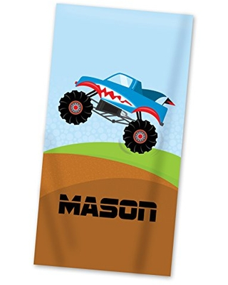 Monster Truck Beach Towel Muddy Monster Truck Pool Personalized Name Light Weight Towel - purpleberryink
