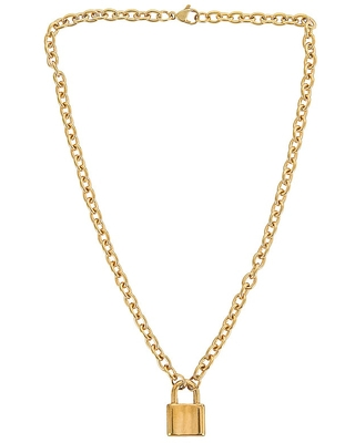 Lock It Up Necklace in Metallic - petit moments