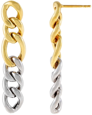 Two Tone Miami Curb Chain Drop Earrings at Nordstrom - adina's jewels