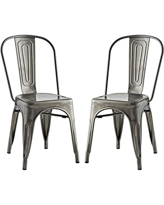 Promenade Industrial Modern Steel Two Kitchen and Dining Room Chairs Side - modway