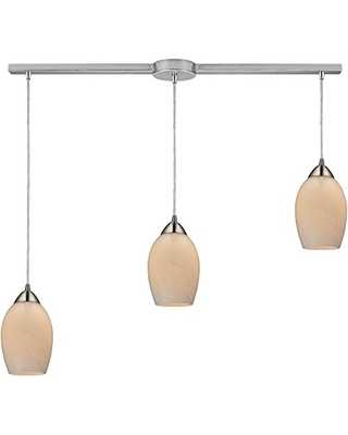 10222 3L COC Favela 3 Light Glass Mini Pendant with Coconut Shade 36 by 9 Inch Finish - elk