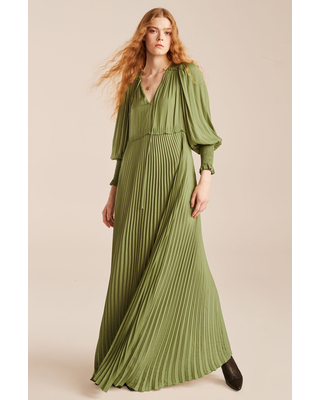 Tie Front Pleated Dress - rebecca taylor