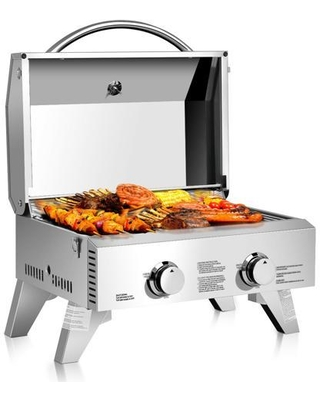 GoPlus Corp 2 Burner Portable Stainless Steel BBQ Table Top Propane Gas Grill Outdoor Camp - costway