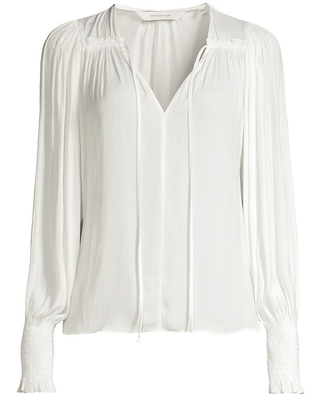Sateen Tie Front Blouse - rebecca taylor