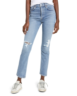 Riley Ripped Super High Waist Crop Straight Leg Jeans at Nordstrom - agolde