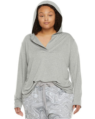 Womens Plus Pajama Top Hooded Neck - ambrielle